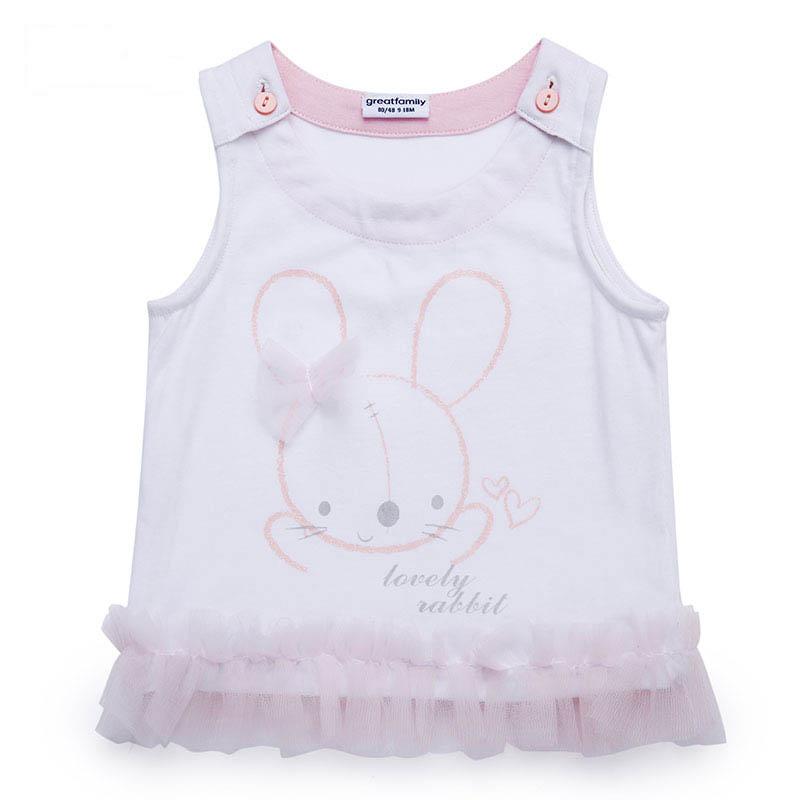 歌瑞家A类女宝宝白色小兔子背心