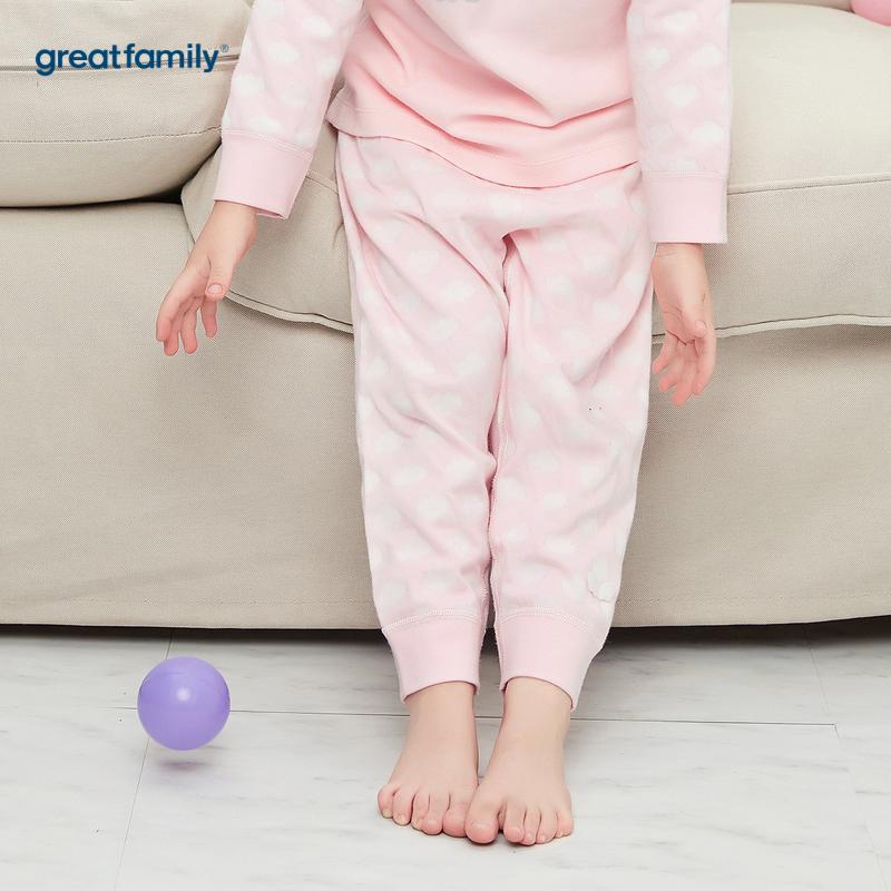歌瑞家A类时尚双层提花系列粉色女开闭裆长裤