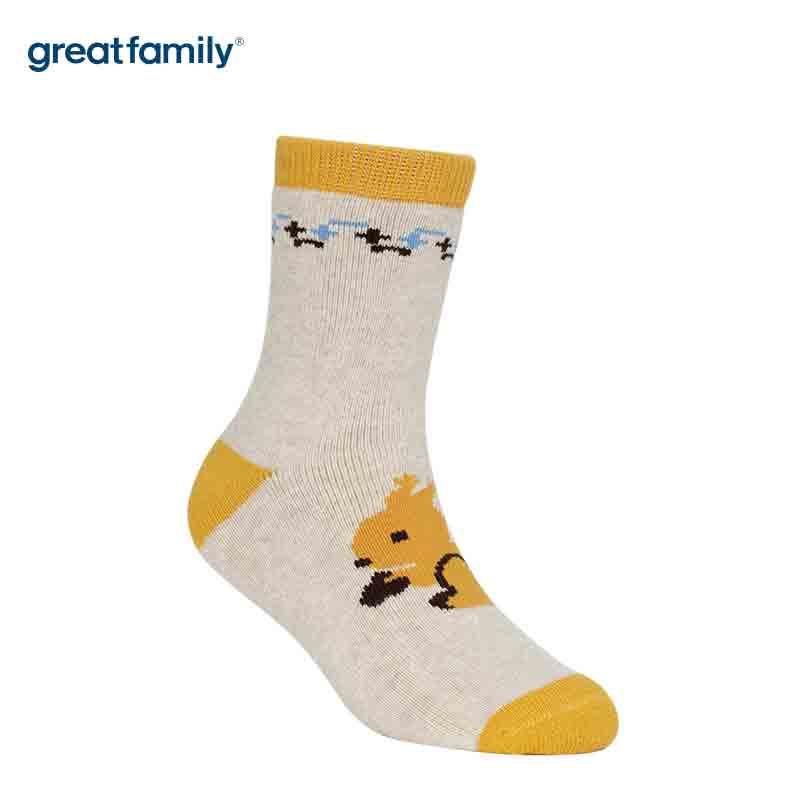 歌瑞家A类黄色卡通松鼠女童中筒袜