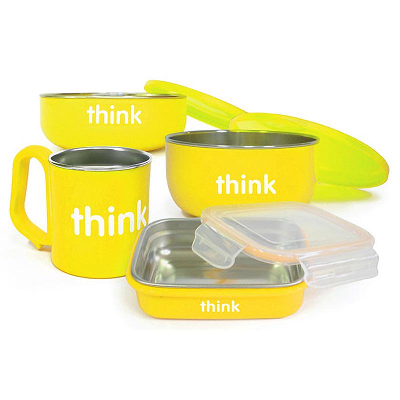 Thinkbaby辛克宝贝儿童不锈钢餐具套装4件套 黄色 宝宝碗饭盒水杯儿童辅食碗