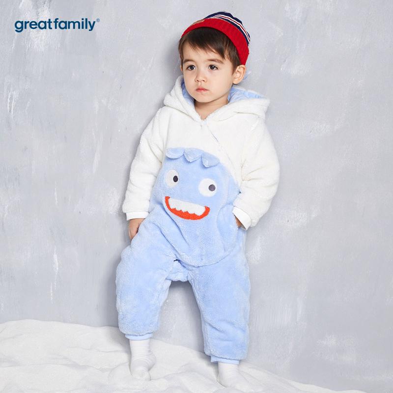 歌瑞家(Greatfamily)A类男宝宝蓝色小怪兽剪毛绒针织连帽连身衣