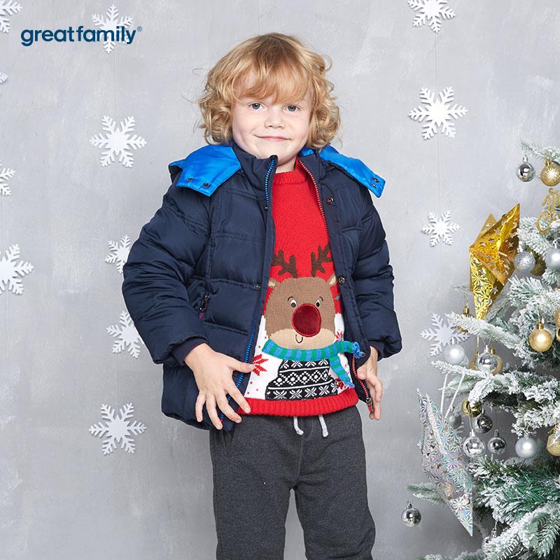 歌瑞家(Greatfamily)A类男童藏青色圣诞系列造型连帽羽绒服