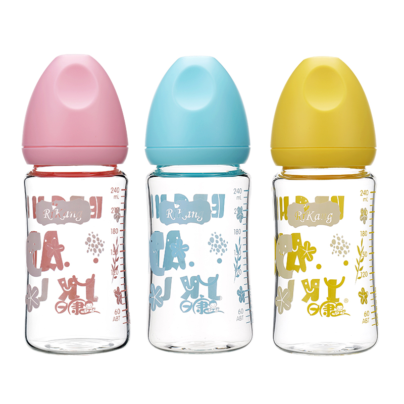 日康母乳实感宽口玻璃奶瓶240ml颜色随机