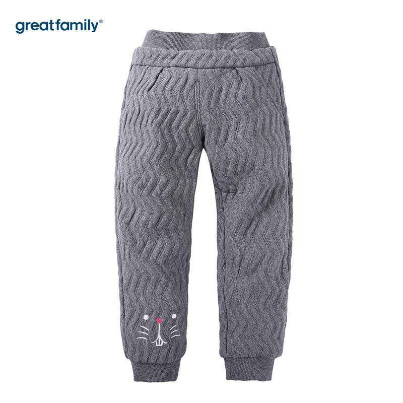 歌瑞家(Greatfamily)A类女童灰色提花面料三保暖针织裤/卫裤
