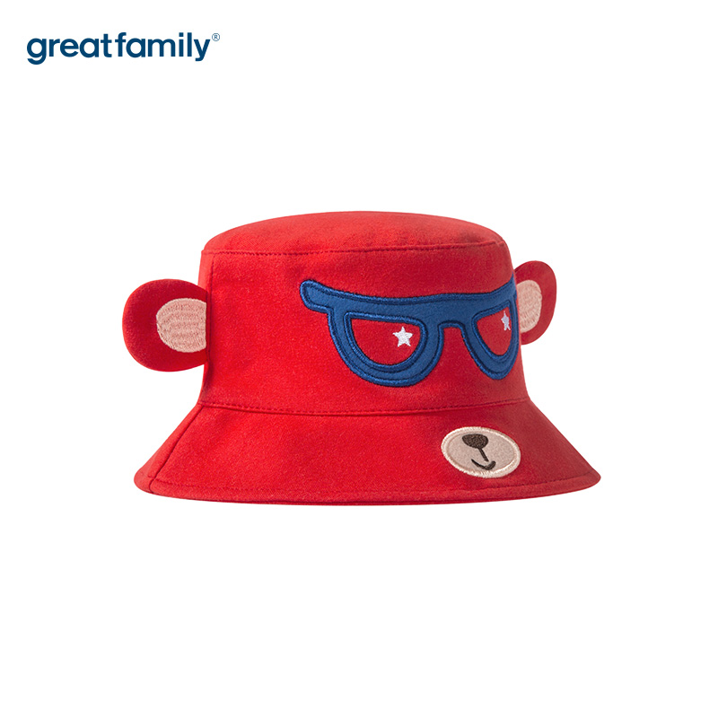歌瑞家A类男童盆帽红色男童帽遮阳帽儿童帽子