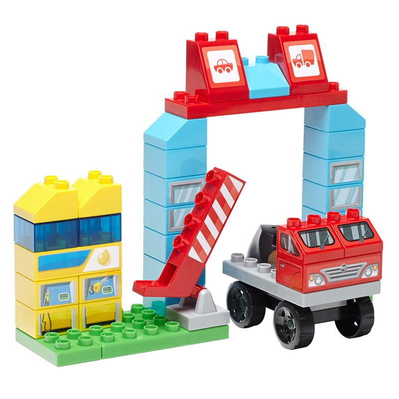 美高中颗粒积木车辆组合主题益智拼装