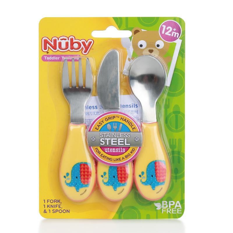 努比nuby努比不锈钢叉勺三件套颜色随机