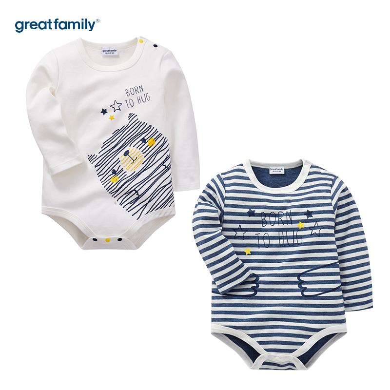 歌瑞家(Greatfamily)A类纯棉牛仔色长袖三角哈衣男女宝宝通用款