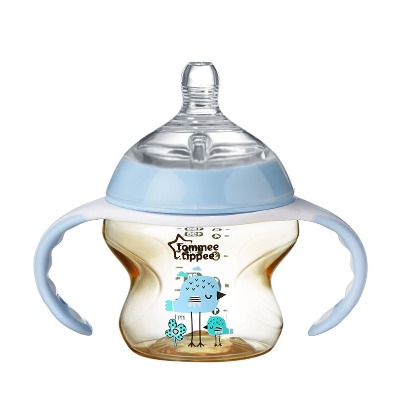 汤美星(Tommee Tippee) 150毫升PPSU奶瓶 蓝色(配手柄和中流量奶嘴)3个月以上