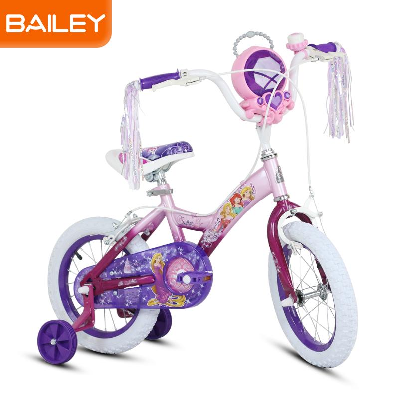 贝乐童车迪士尼系列公主珠宝盒自行车14寸 粉色