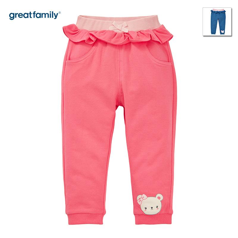 歌瑞家(Greatfamily)A类女宝宝桃红色纯棉卫裤