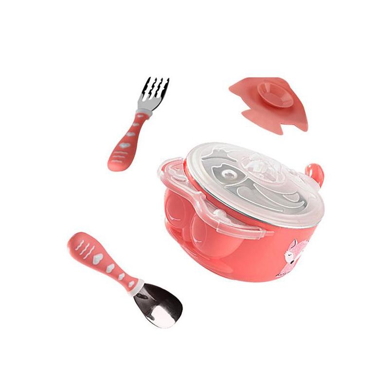 babycare儿童餐具套装3860珊瑚红3件套