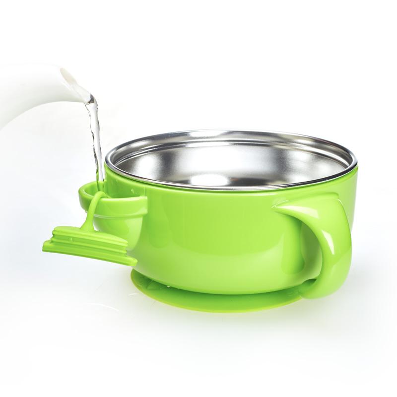 努比NUby不锈钢注水保温碗(附吸盘)1个盒绿/蓝/粉(颜色随机)