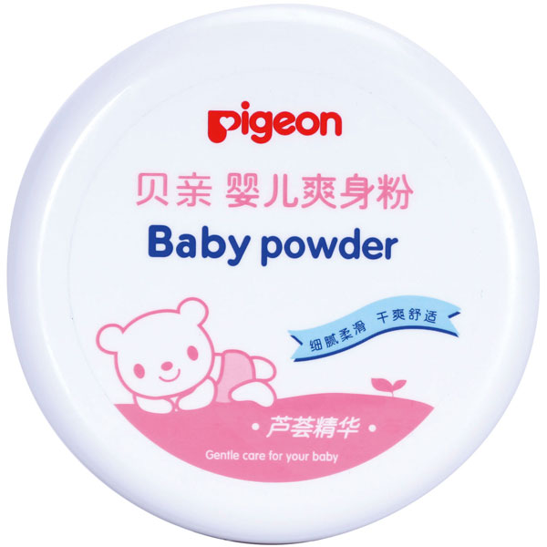 贝亲Pigeon婴儿爽身粉140g盒装带粉扑宝宝痱子粉
