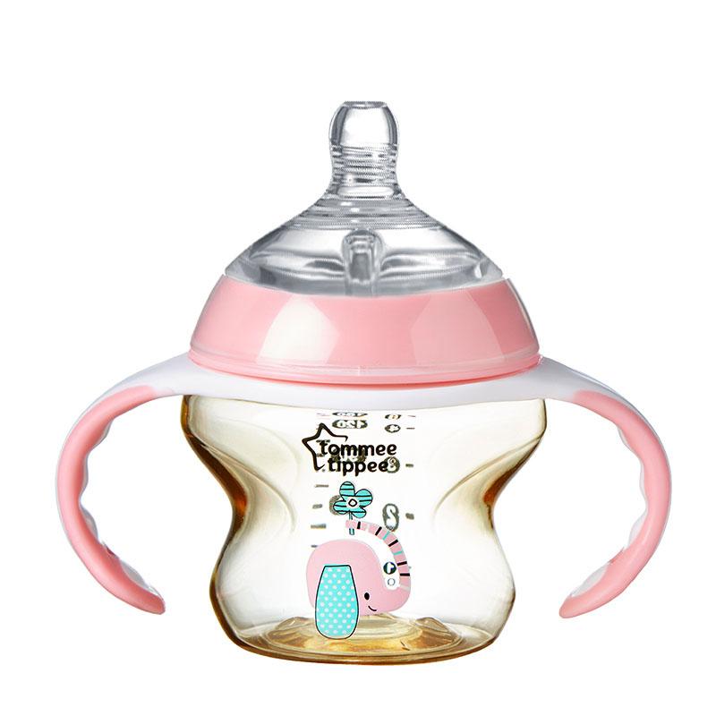 汤美星(TommeeTippee)150毫升PPSU奶瓶粉色(配手柄和中流量奶嘴)3个月以上