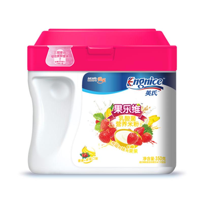 英氏Engnice果乐维乳酸菌营养米粉350g/桶苹果+蓝莓口味6-36月