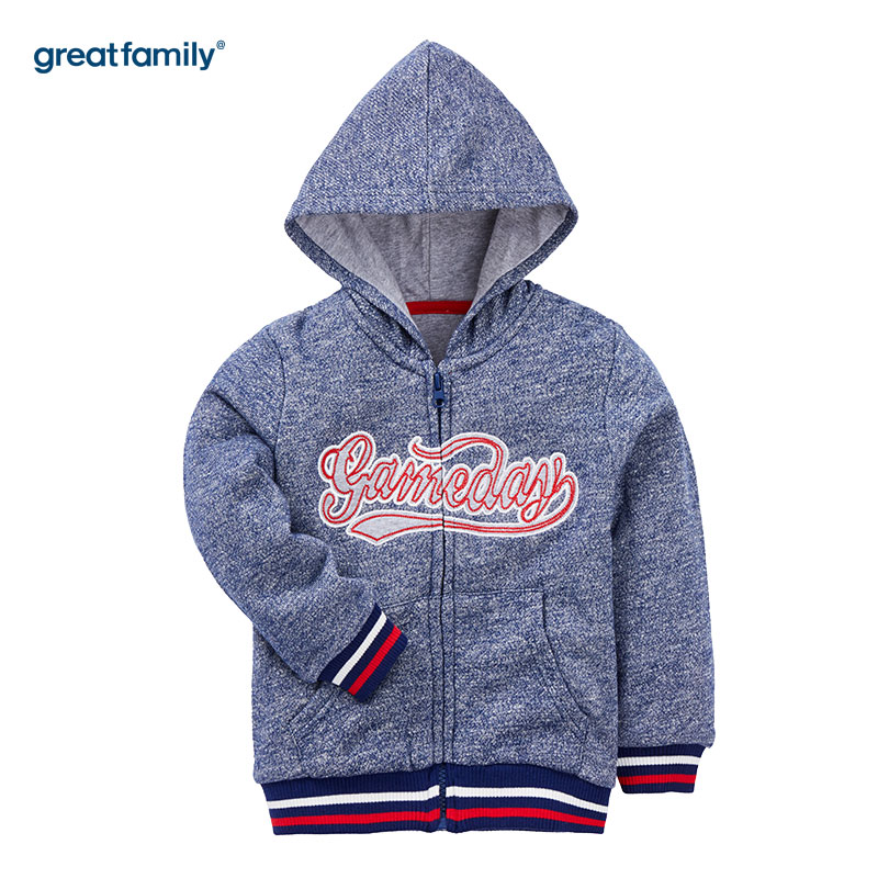 歌瑞家(Greatfamily)A类经典校园男童藏青色花纱字母绣花针织夹里连帽外套