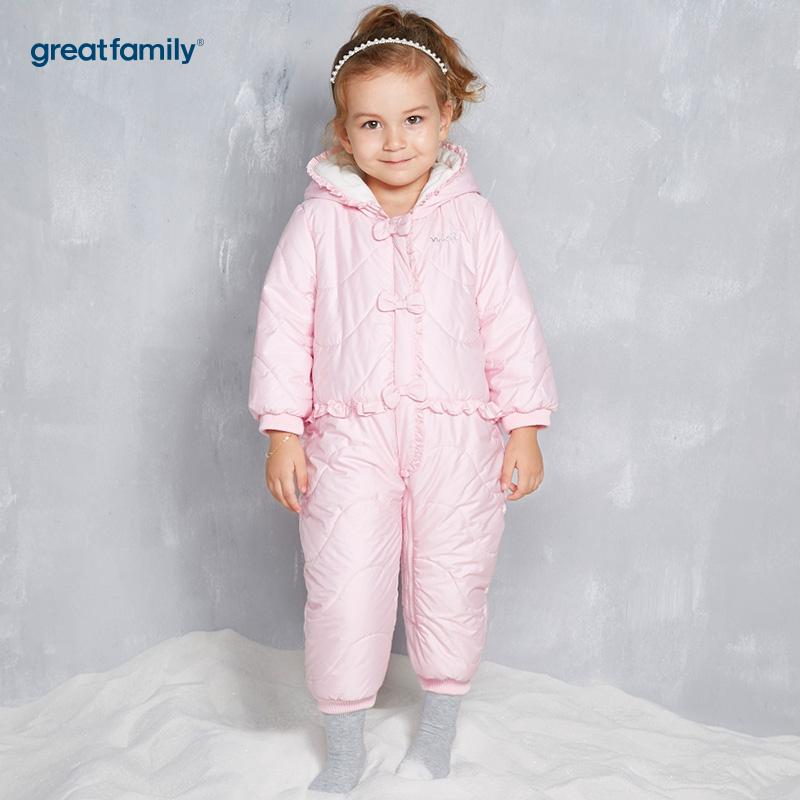 歌瑞家(Greatfamily)A类女宝宝粉色蝴蝶结造型连帽连身棉服