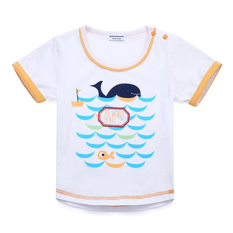 歌瑞家A类男宝宝白色小鱼清凉T恤