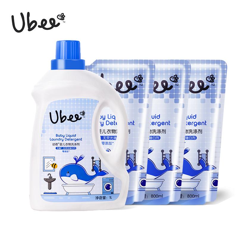 幼蓓Ubee婴儿洗衣液组合装(1L  3*800ml)温和健康洁净去污