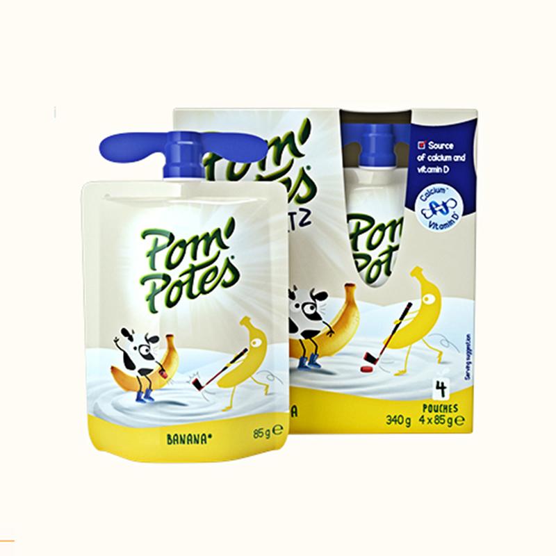 法优乐(POMPOTES)法国原装香蕉酸奶4*85g盒