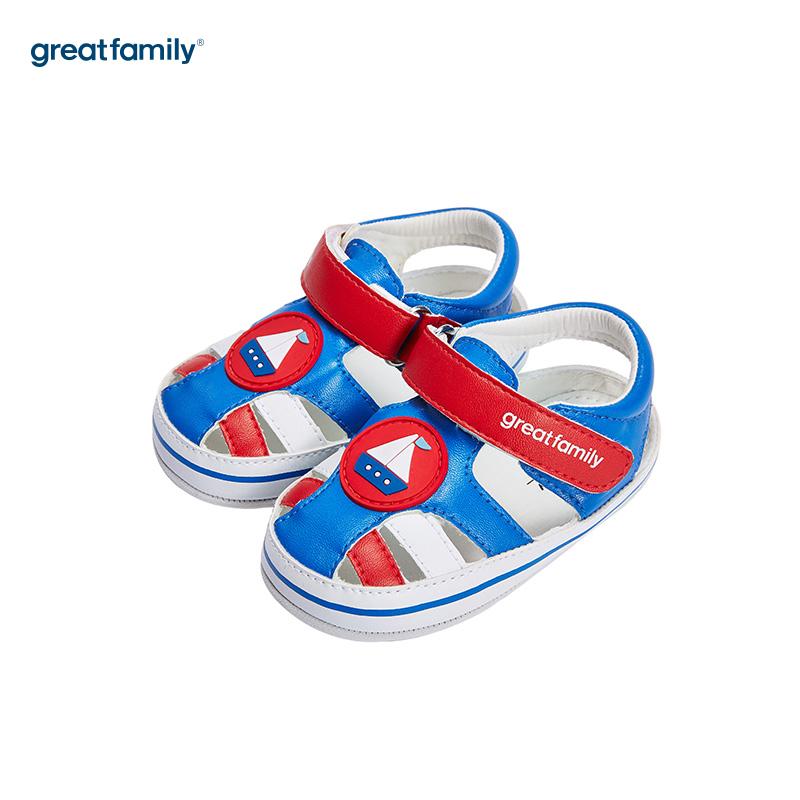 歌瑞家(greatfamily)男婴帆船宝宝鞋GB182-007SH蓝11CM双