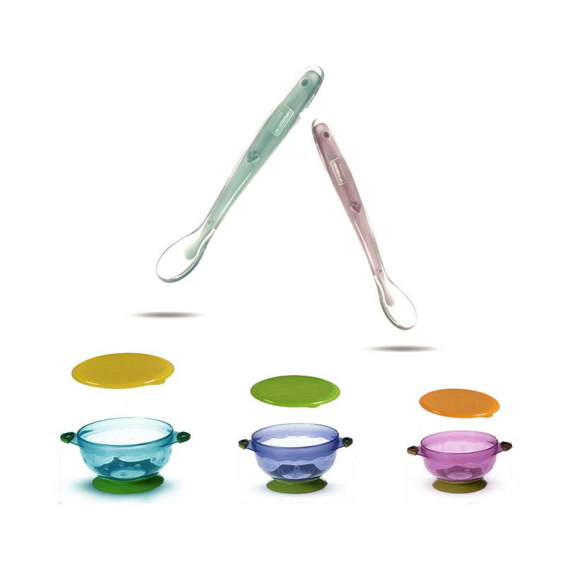 babycare多彩吸盘碗套装与儿童硅胶勺子套装组合装2套装