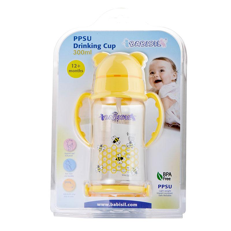 贝儿欣BabisilPPSU吸管训练杯300ml粉黄一杯两用不含BPA