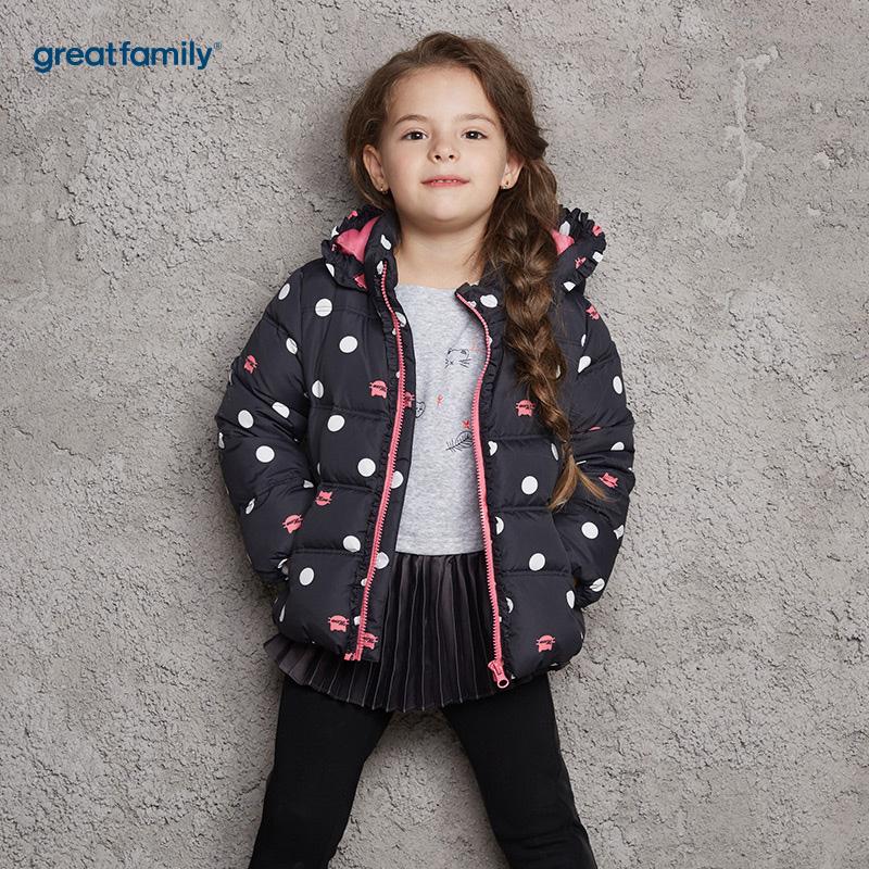歌瑞家(Greatfamily)A类女童黑色彩色波点连帽羽绒服
