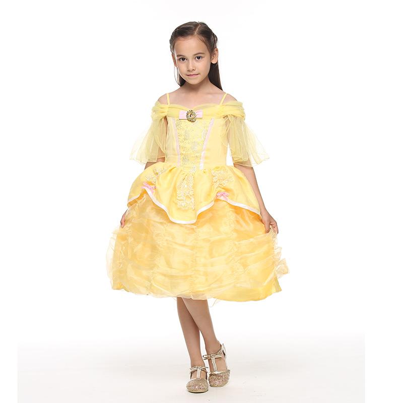 迪士尼贝儿公主喇叭袖连衣裙蕉黄