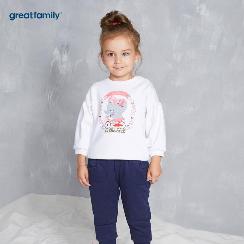 歌瑞家(Greatfamily)A类女宝宝白色内里黄金绒套头卫衣