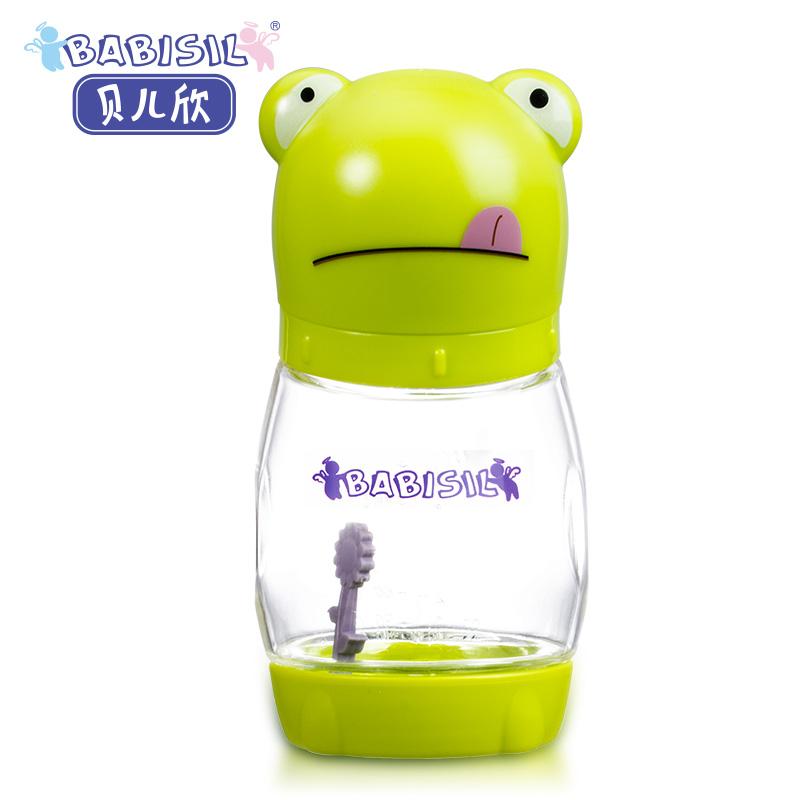 贝儿欣Babisil6oz贝贝蛙PA宽口径防胀气感温初生奶瓶180ml轻盈通透感温设计