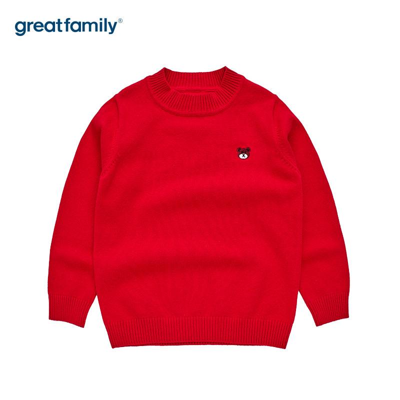 歌瑞家男女通用红套头针织毛衫上衣线衣秋冬