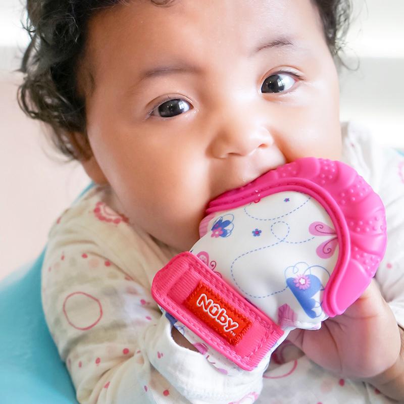美国Nuby--可爱手套牙胶(粉)(0月以上)1只/包