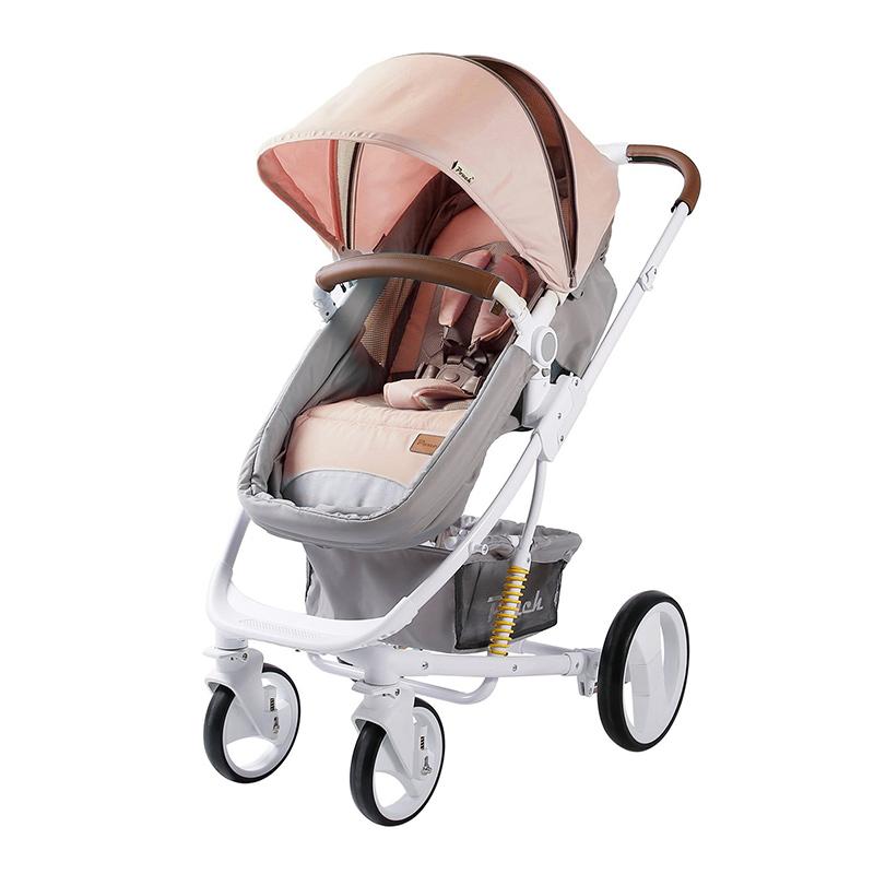 Pouch婴儿高景观可坐可躺双向推车可折叠P35藕粉