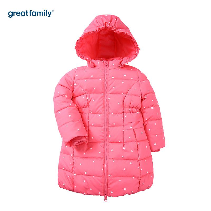 歌瑞家(Greatfamily)A类女童玫红色荷叶边收腰连帽中长款羽绒服