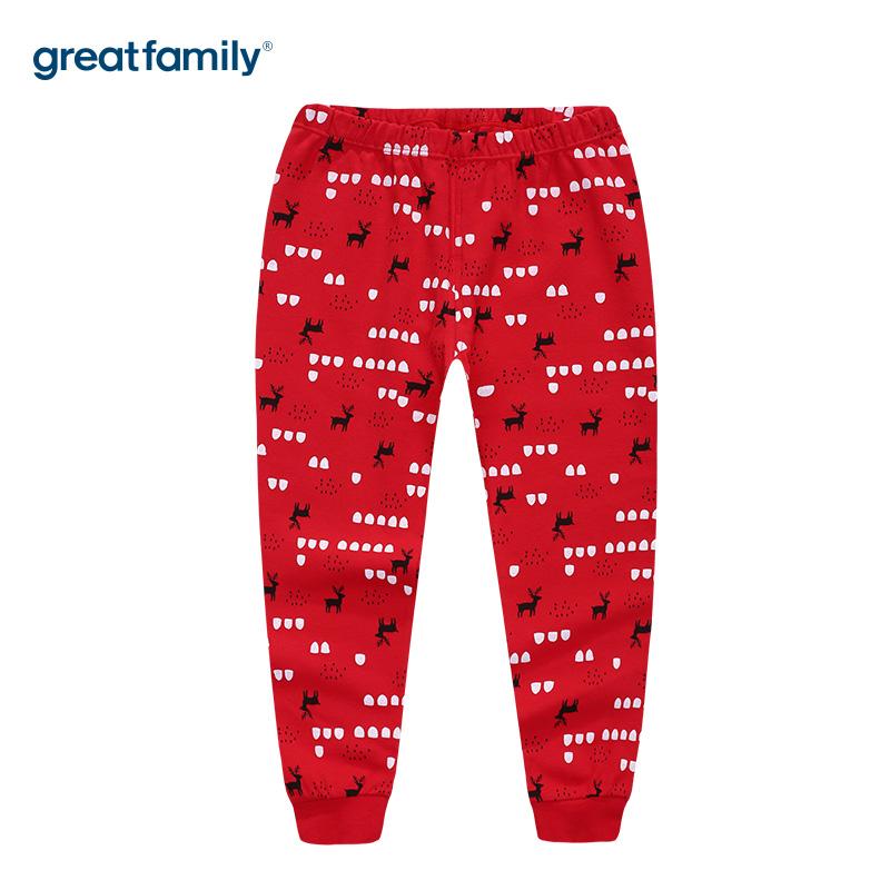 歌瑞家A类双面布男女童红色家居长裤