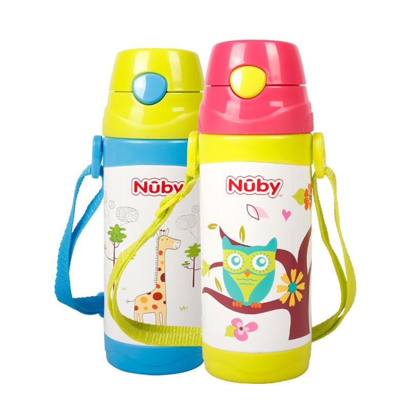 努比nuby不锈钢真空按键式保温背带吸管杯(河马/猴子)360ml个