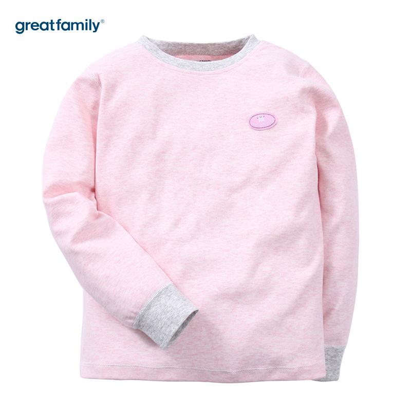 歌瑞家(Greatfamily)A类女童粉色舒绒长袖圆领/内衣/家居服