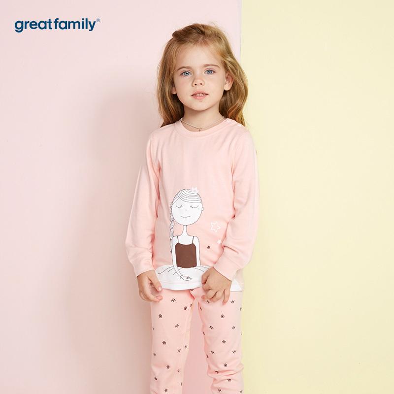 歌瑞家(Greatfamily)A类女童粉色印花长袖圆领/内衣/家居服