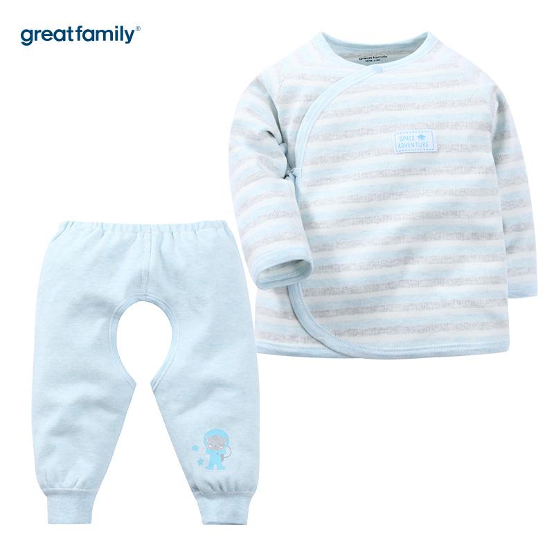 歌瑞家(Greatfamily)A类男宝宝舒绒混色长袖和袍/和尚服/内衣/斜襟系带套装