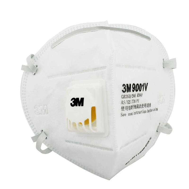 3M防雾霾防PM2.5带阀口罩3只9001VKN90折叠式防粉尘骑行口罩耳戴式
