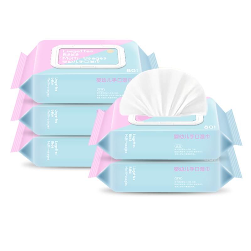 法国Barropeddi婴幼儿手口湿巾带盖宝宝湿纸巾80片*5包