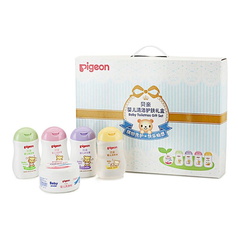 贝亲Pigeon婴儿清洁护肤礼盒洗护沐浴5件套