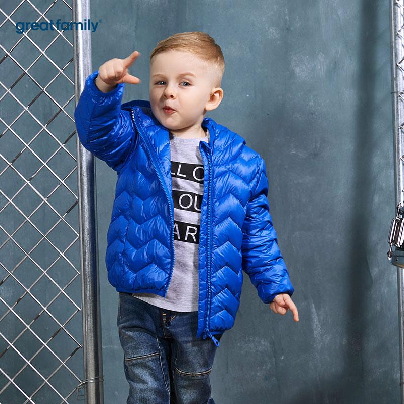 歌瑞家(Greatfamily)A类经典校园男童蓝色轻薄柔软白鸭绒连帽羽绒服