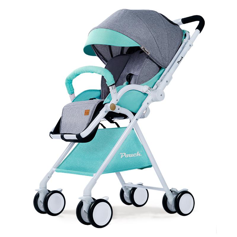Pouch 帛琦 婴儿推车轻便可携带高景观可坐可躺双向避震伞车A06拼接绿灰