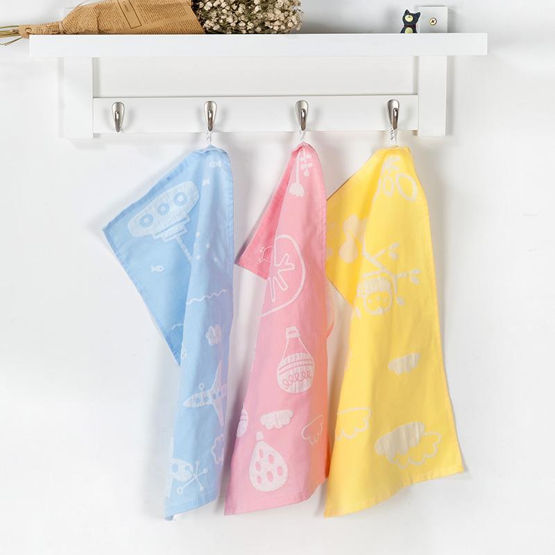 歌瑞家greatfamily双层纱布面巾3条装混色