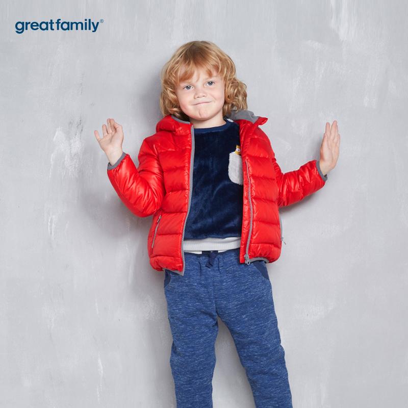 歌瑞家(Greatfamily)A类男童红色绗缝连帽羽绒服