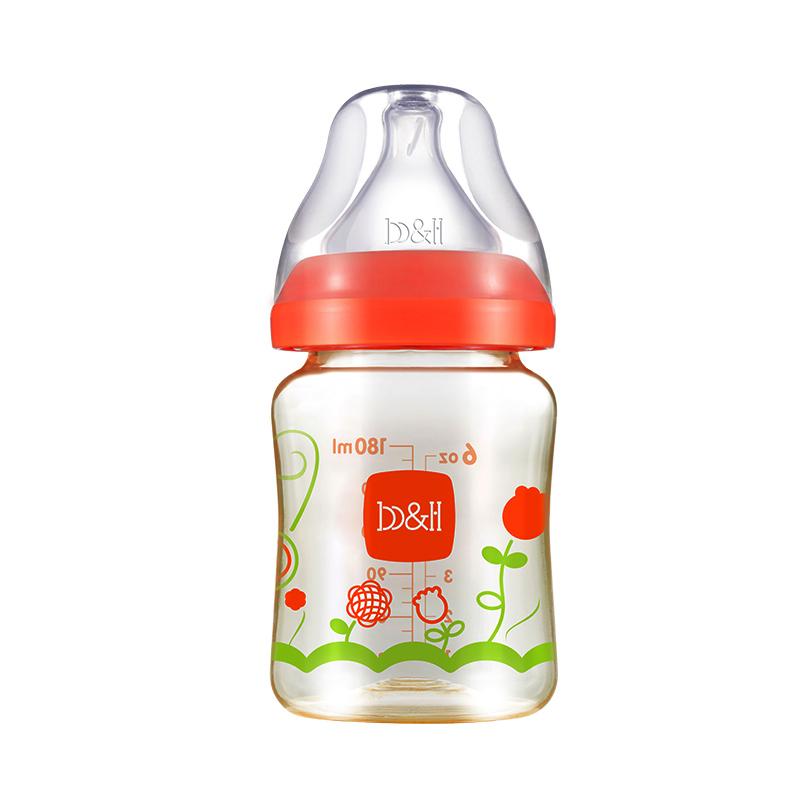 宝琪防摔新生儿宽口径耐高温PPSU奶瓶180ml红色