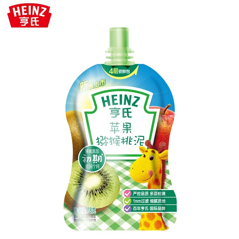 亨氏Heinz营养果蔬泥苹果猕猴桃泥78g辅食添加初期